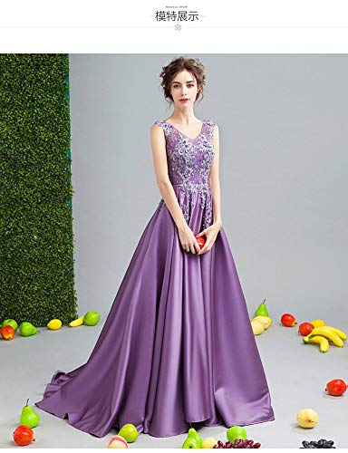 YT-RE Romantische Blüte Lila Hochzeitskleid Hochzeit Abendessen Ballkleid Satin Perlen Bodenlangen...