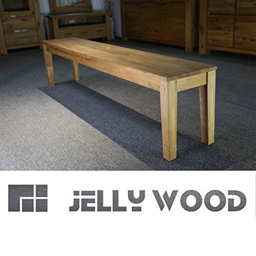 Jellywood® ISAR massive Sitzbank 180 x 33 cm Holzbank Bank Esszimmerbank Massivholz in Echtholz Eichbaum mit geölter Oberfläche für Esszimmer, Küche, Garten, Arbeitszimmer, Eiche natur