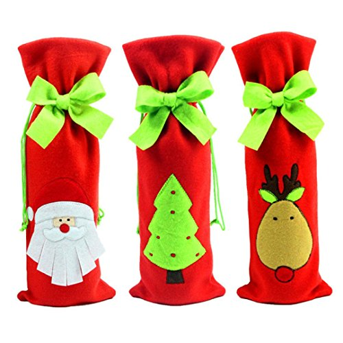 Kingko® 3 PCS Wine Bottle Cover Bags Decoration Home Christmas Party Santa Claus Decor