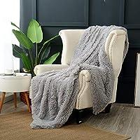 "Reafort Luxury Long Hair Shaggy PV Fur Faux Fur Oversized Throw Blanket (Grey, 60""X70"" Throw)"