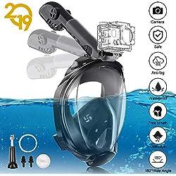 YUNDOO Masque de Plongée, 180° Visible Masque Tuba Intégral Anti Buée Anti-Fuite sous-Marine, Snorkel Masque avec la Support pour Caméra de Sport (S/M/Noir)