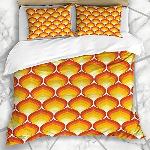 Bettbezug-Sets Sommer 70er Jahre Retro Muster Vintage Grafik Geometrische Flamme 60er Jahre Design Mikrofaser Bettwäsche mit 2 Kissenbezügen