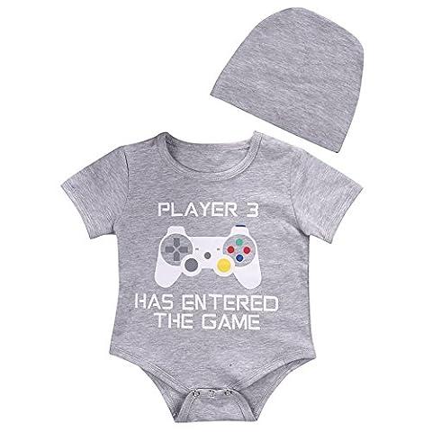 Unisex-Baby Kurze Hülse Spiele Drucken Strampler Overall Hüte Kleidung Set (0-9 Monate) (3 Monate Baby-kleidung)