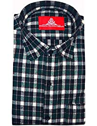 STC Men's Green Woolen Checkered Cottswool Winter Wear Full Sleeves Regular Fit Formal Shirt 0123