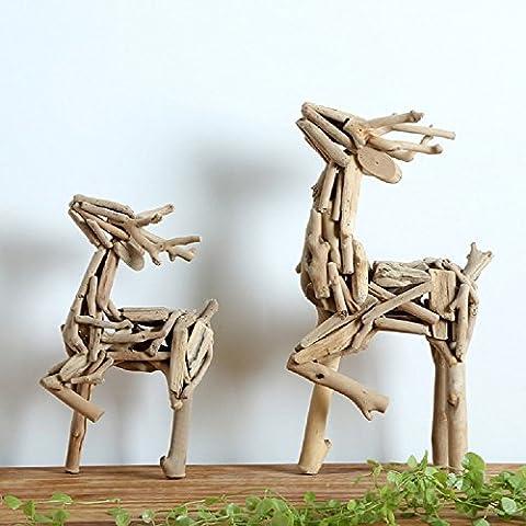 K&C Wooden Standing Deer Statue Wooden Reindeer Rustic Christmas Ornaments