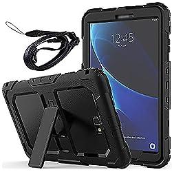 Newseego Coque Samsung Galaxy Tab A6 10.1 '', Étui de Protection Antichoc Corps Entier avec des Bretelles Kickstand Robuste pour Tablette Galaxy Tab A 10.1 '' (SM-T580 / T585) - Noir