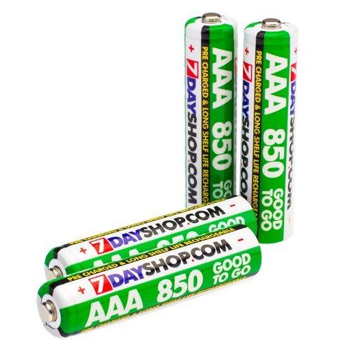 7dayshop Good To Go Lot de 4 piles NiMh AAA HR03/MN2400 rechargeables pré-chargées 850 mAh