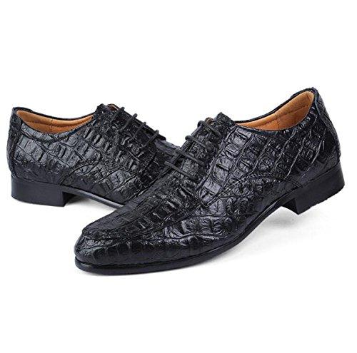 Chaussures En Cuir Crocodile Noir