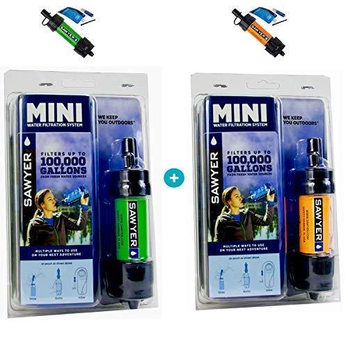 Original Sawyer Mini PointONE Wasserfilter Outdoor Camping Trekking Wasserfilter Wasseraufbereitung 2-er Set (Grün & Orange) -