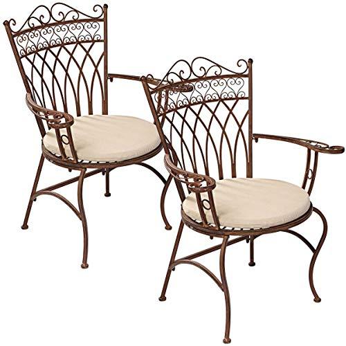 Pureday Gartenstuhl-Set aus Eisen, antik-braun, 2-teilig