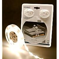 LED Universo LED cama iluminación Blanco Cálido para una cama de matrimonio con sensor de movimiento y de claridad (LED Set 12V con fuente de alimentación, 2sensores de movimiento, y de distribución de cable, 2,4m de longitud)