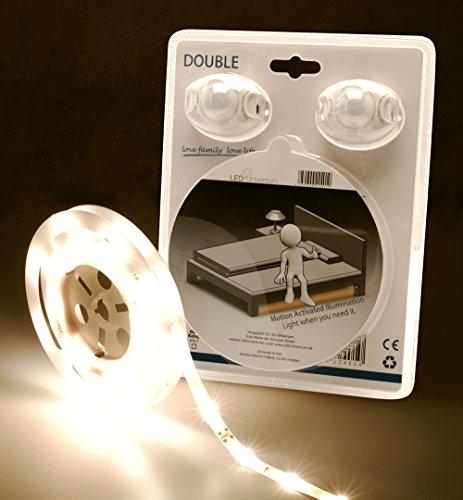 LED Universum LED Bettbeleuchtung warmweiß für ein Doppelbett mit Bewegungsmelder und Helligkeitssensor (LED Set 12V mit Netzteil, 2 Bewegungssensoren, Y-Verteilerkabel, 2,4m Länge)