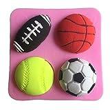 Karen Baking Fußball Basketball Tennis-Form-3D Silikon-Fondant-Kuchen-Form Rose