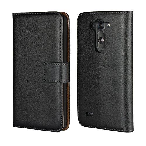 Copmob LG G3 Beat Hülle Handyhülle LG G3 S 5 [Premium Leder] [Standfunktion] [Kartenfach] [Magnetverschluss] Schlanke Leder Brieftasche für LG G3 Mini Schwarz