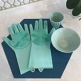 AMUSTER Silikon Handschuhe Reinigungshandschuhe Magic wiederverwendbare Reinigungsbürste Scrubber Handschuhe hitzebeständig