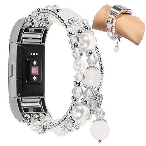 Für Fitbit Charge 2 Armband Damen, Wafly Elegant Perlen Armband für Fitbit Charge 2 Elastische Perle Ersatzarmband Uhrenarmband Armbänder Fitbit Charge2 für Hochzeit,Party, 5,5\'\'-6,9\'\'(Weiß)