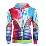 Xmiral Sweatshirt Hoodies Felpa con Cappuccio a Manica Lunga Sciolta Stampa 3D Arcobaleno Stile Coppia (S,Multi Colore)