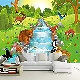HONGYUANZHANG Benutzerdefinierte 3D Fototapete Nordic Einfache Cartoon Tier Wald Bär Kinder Schlafzimmer Hintergrund Dekorative Tapeten,230cm (H) X 310cm (W)