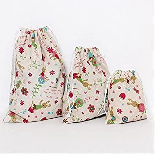 AsentechUK® Portable Rabbit Pattern Cotton Cloth Beam Port Drawstring Bag Candy Gift Pouch Outdoor Travel Storage Bag (M)