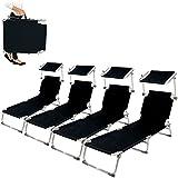 TecTake Chaise longue bain de soleil en aluminium pliable avec parasol pare soleil noir