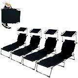 TecTake Lot de 4 chaise longue bain de soleil en aluminium avec parasol pare soleil | pliable - diverses couleurs au choix - (Noir | no. 401550)