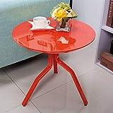 5 IN 1 TABLE XIAOYAN Beistelltisch Kleine Couchtisch Metall Beistelltisch Mini Runde Nordic Einfache Sofa Beistelltisch Hochglanz Lack Weiß/Rot/Gelb Mehrzweck (Farbe : Red)