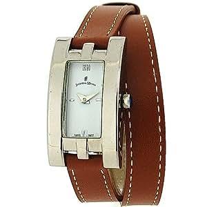 Montre Jacques Du Manoir Femme Cadran Blanc et Bracelet Marron Clair Extra-Long