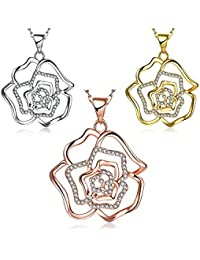 Necklaces Women Classic Flower Gold Plated Rose Gold Plated Platinum Plated Alloy Crystal 45+5Cm Chain Pendant...