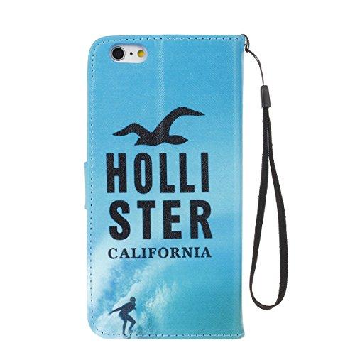 ISAKEN Custodia iPhone 6 Plus, Cover iPhone 6S Plus, Elegante borsa Custodia in Pelle Protettiva Flip Portafoglio Case Cover per Apple iPhone 6 Plus (6 5.5) / con Supporto di Stand / Carte Slot / Chi hollister california verde