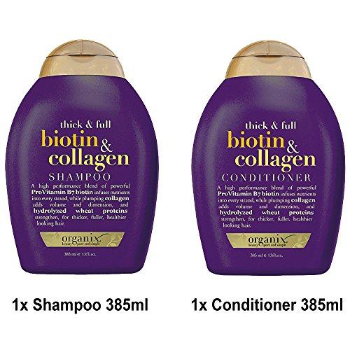 ogx® (anciennement Organix) Thick & Full Biotine Collagène Shampoing 385ml + après-shampoing/chasse 385ml–pour cheveux dichteres et brillants