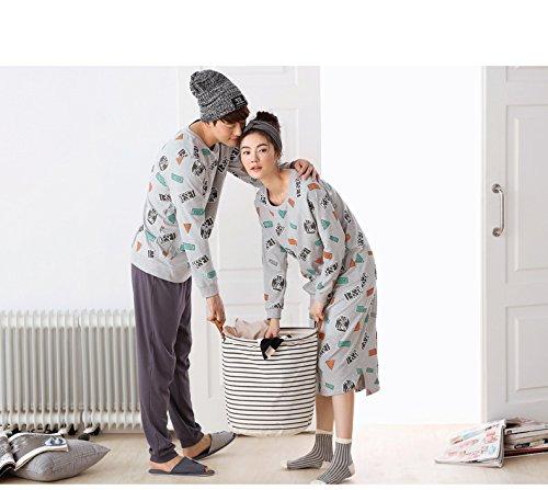 Oneworld Damen Herren Liebespaar 100% Baumwolle Pyjamas Set zweiteiliger Schlafanzug Hausanzug Nachtkleid Nachthemd Lang Von Frühling bis Herbst C2471 man