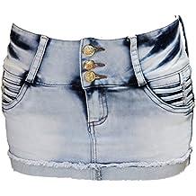 FARINA 1689 Vaquero Mini Falda, Jeans Faldas, Faldas Cortas para Mujer