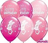 "Minnie Mouse Happy Birthday 11"" Qualatex Latex Balloons x 10P"