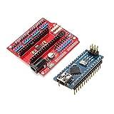 Bluelover Funduino Scheda di Espansione Nano + Atmega328P Nano V3 Versione Migliorata per Arduino