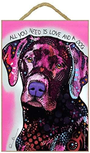 (SJT78217) Labrador - All you need is love and a dog 7 x 10.5 wood plaque/sign featuring the artwork of Dean Russo by SJT. - Artwork Dean Russo