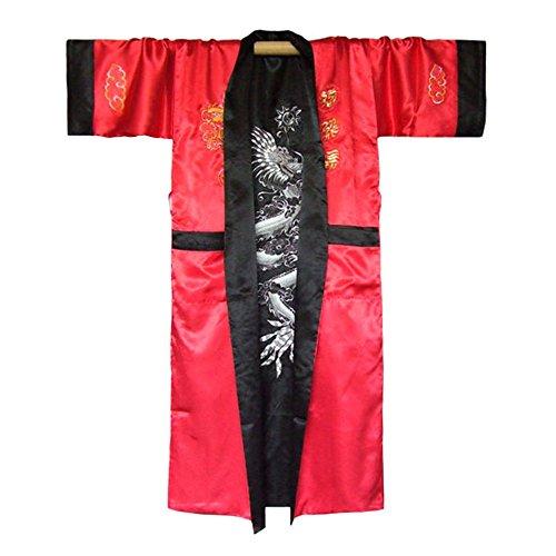 mono Satin Morgenmantel für Damen & Herren mit Drachen-Stickerei (Rot, Einheitsgröße) (Japaner Kostüme)
