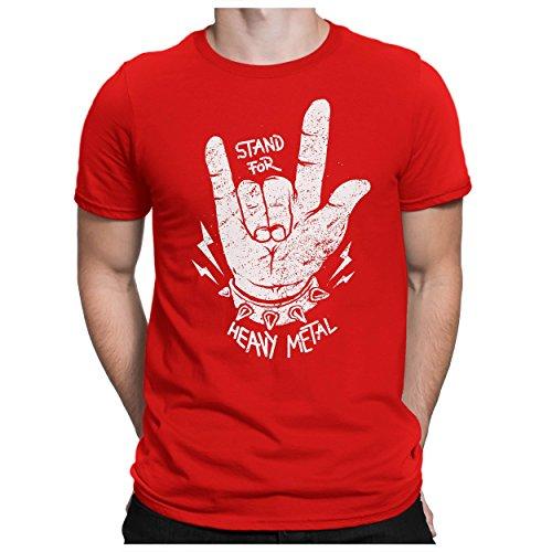 PAPAYANA - Stand-for-Metal - Herren T-Shirt - Heavy Metal Hardrock Trash Speed Rock Music, M, Rot