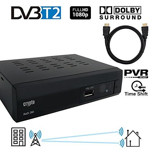 Crypto Redi 260PH Receptor sintonizador DVB-T2 y grabador Full HD 1080P con reproductor Dolby Digital PVR (H.264 / MPEG-2/4, HDTV, HDMI, USB 2.0) negro con cable HDMI 1M