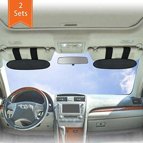 WANPOOL Universelle Auto Sonnenblenden Visierverlängerung für Autos, LKW´s und RV´s - Anti-blend anti-grell Sonnenschutz für Fahrer und Mitfahrer (Silber) - 2 Stück