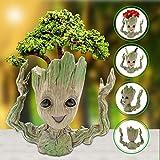 Hiveseen Groot Flowerpot, Flowerpot Cartoon Action Figures Guardians of The Galaxy Green Plants Flower Pot for Kids (D)