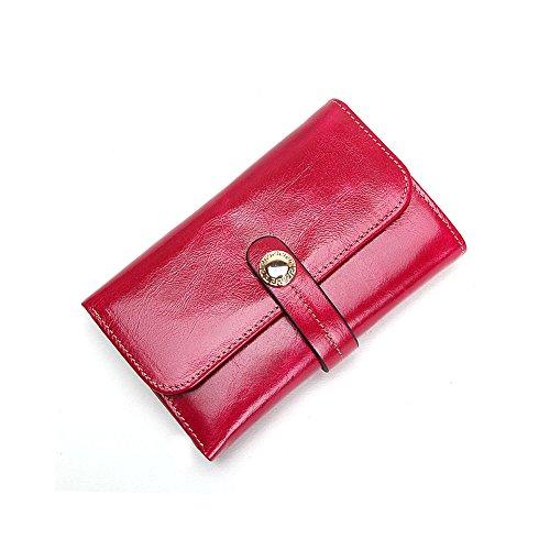 Grande capacità lusso Portafoglio da donna in pelle, borse-Portafogli con portamonete e porta carte di credito e tasca con Pocket Rosso