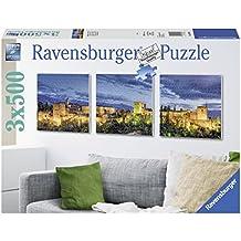 Ravensburger - La Alhambra al atardecer, rompecabezas de 3 x 500 piezas cuadrados, 150 x 50 cm (199181)