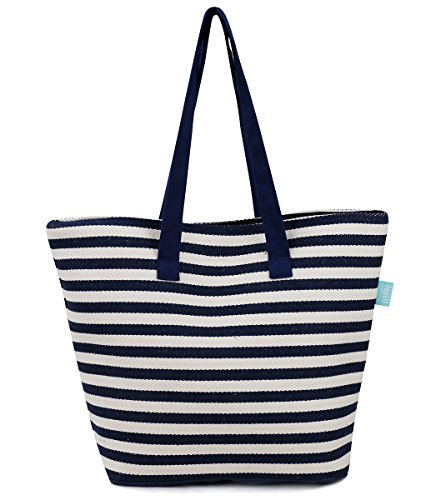 Canvas Shoulder Tote Handbag for Camp/Beach/Picnic, Travel Handbags for Weekend Shopper, Beach Tote Bag, 4 Color Strips