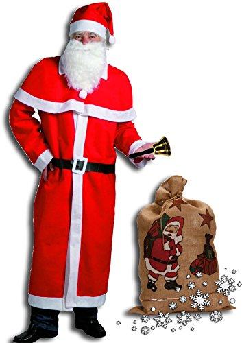 Idena 8580108 Weihnachtsmann Kostüm, 5-teilig, rot / Kombi-Set (mit Jutesack + Glocke, Rot / Weiß / Schwarz)