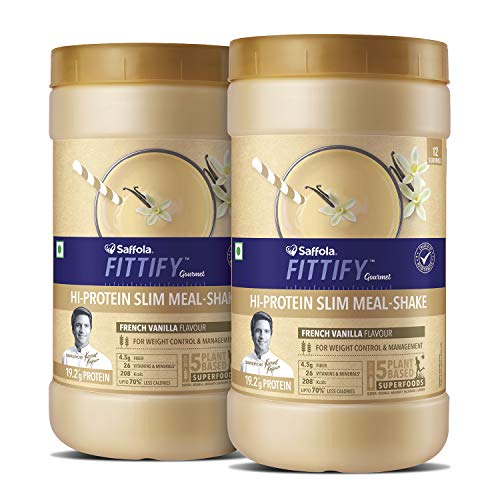 Saffola FITTIFY Hi Protein Slim Meal-Shake, Meal Replacement with 5 superfoods, French Vanilla, 420 gm (12 servings)-Buy One Get One Free