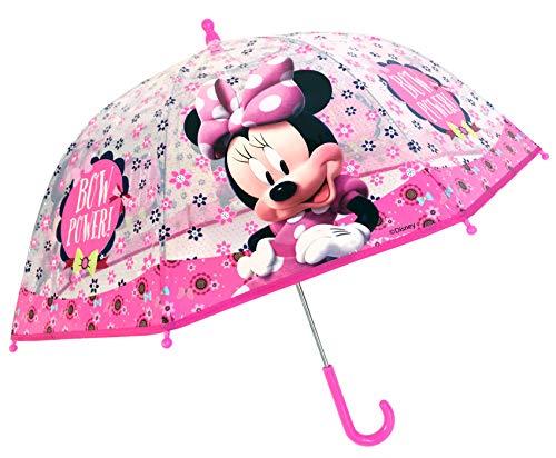 Chanos Chanos Minnie Manual Dome Shape PoE Transparent Folding Umbrella, 45 cm, Light Pink Paraguas Plegable, Rosa (Light Pink)