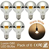 [Pack of 6]Edison Vintage Light Bulb Dimmable Crown Silver Globe with Reflector Mirror 4W G80 E27 Screw Cap Warm White 2700K