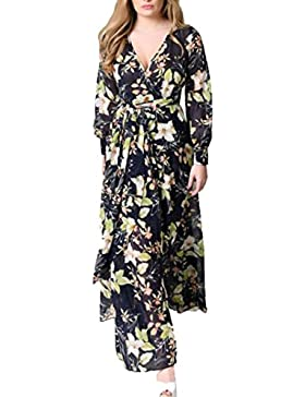 Vestido floral de la gasa de las mujeres, vestidos casuales de la playa de la fiesta vestidos de manga larga más...