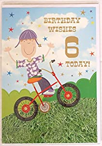 """Birthday Wishes 6 Today"" BMX Bike Boys Birthday Card"
