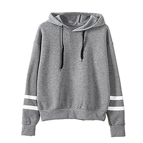 DAYLIN 1PC Womens Long Sleeve Sweatshirt Jumper Hooded Pullover Tops Blouse (XL, Gray)